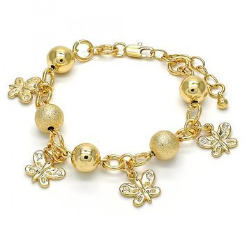 Gold Layered 03.179.0049.07 Charm Bracelet, Butterfly Design, Matte Finish, Golden Tone