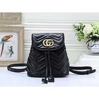 GUCCI New Women Fashion Shoulder Bag Bookbag Backpack Daypack Black