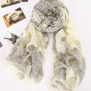Scarf, Yellow & Gray Notes Spring & Summer Scarf, Shawl, Wrap. Feels like a wispy cloud. So wonderful. Love! Assorted Colors Available.