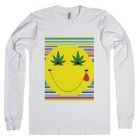 Rainbow weed smiley face-Unisex White T-Shirt