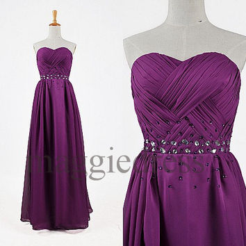 Custom Purple Beaded Long Prom Dresses Evening Gowns Bridesmaid Dresses 2014 Formal Wear Homecoming Dresses Cocktail Dresess Formal Wear