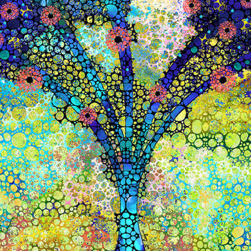 Colorful Landscape Floral Flowers Art PRINT from Painting Primary Colors Feminine Abstract  CANVAS Ready To Hang Large Artwork Mosaic Art