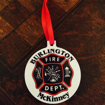 Personalized Fire Department Aluminum Christmas Ornament
