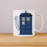baymax big hero 6 in tardis box mug === white mug, one and two side mug design