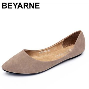 BEYARNE fashion color block decoration flat heel boat shoes color block pointed toe flat loafers gommini cute shoes single shoes