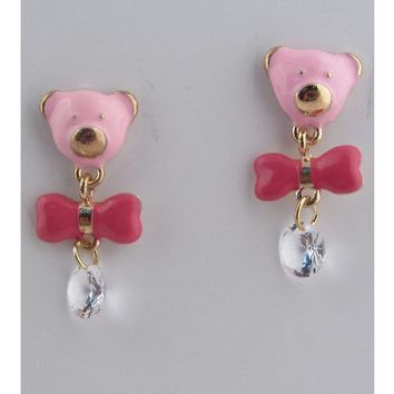 Bear face and bow earrings