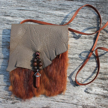 Mink Fur Medicine Bag with Mushroom Goat Leather and Deerskin Lace, Goldstone Obelisk , Red Tigers Eye, Bronzite, Mystical Tibetan Agate