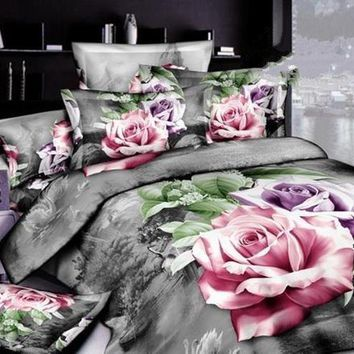 3D Pink and Purple Roses Printed Cotton Luxury 4-Piece Bedding Sets/Duvet Covers
