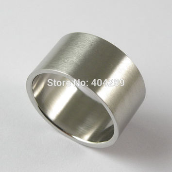 7 12mm Stainless Steel Super Wide Flat Ring Thumb Matt Rings for Men Women Punk Accessories