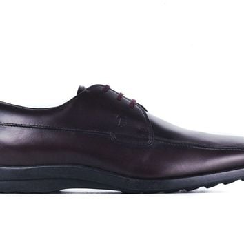 Tod's Mens Burgundy  Brown Leather Oxford Shoes