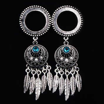 1 Pair Dream Catcher Stainless Steel Dangle Ear Plugs