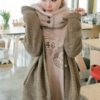 Wholesale Fashion Style Detachable Thicken Hooded Coat Grey