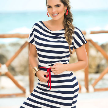 Classic Nautical Boatneck Short Sleeve Dress-Light Summer Dresses