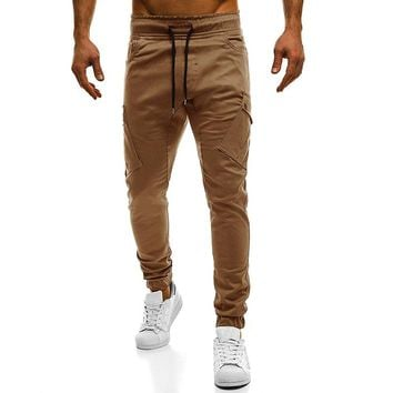 slim men joggers 2018 new solid color drawstring elastic jogger high quality khaki pants man trousers pantalon hombre plus size