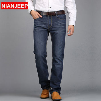 NIANJEEP 2016 Middle-aged men's big size 28-42 casual brand spring straight denim jeans man trouser autumn long cowboy pant 847