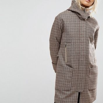 ASOS Hooded Check Coat with Rib Funnel Neck at asos.com