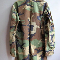 Vintage Army Jacket Shirt Camouflage Military Bdu Small X Long 8311