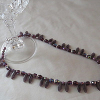 Amethyst Necklace, Princess Style Necklace, Glass Beaded Necklace