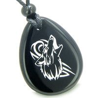Amulet Courage and Protection Howling Wolf Spiritual Powers Black Agate Pendant Necklace
