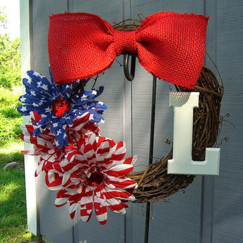 Wreath Personalized-PATRIOTIC-Front Door Wreath, 4th of July, Burlap, Red White and Blue, Housewarming Gift, Patriotic Gift, Summer Wreath