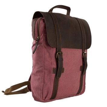 Waxed Canvas and Leather Double Strap Backpack - Pink