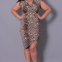 Plus Size Cowl Neck Leopard Dress - Leopard