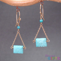 "Sleeping beauty turquoise on chain, 1-1/4"" Earring Gold Or Silver"