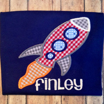 Rocket Spaceship Applique Personalized shirt by AfterNineDesigns