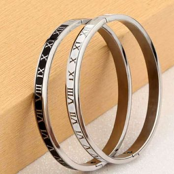 (1 Pair)New Fashion Jewelry Roman Numerals Rose Gold Plated Stainless Steel Couples/Womens/Mens Cuff Bracelets Bangles Wristband Best Gift for Lover!/fashionsel