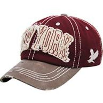 NEW YORK Burgundy DISTRESSED AND FADED  HAT CAP Old School Baseball  Unisex Adj One
