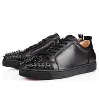Christian Louboutin CL Louis Junior Spikes Men's Flat Black/black Leather Ss13 Sneakers Best Deal Online