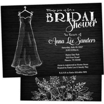 Bridal Shower Invitations - Black and White Wedding Dress Invitations - Engagement Party Invitation - Hen Party - Wood - Dress on Hanger