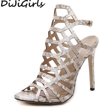 GUMANDUO Women Pumps Gladiator Sandals Peep Toe Ankle Strap High Heel Stiletto Print PU Leather Cut Out Summer Shoes Woman 35-40