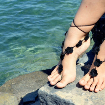 Black Floral Barefoot Sandals,Crochet Sandals,Sexy Foot Jewellry, Nude Shoes, Foot Decoration, Yoga, Toe Ring, Foot thongs,Sandles