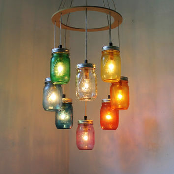 Valentines RAINBOW Heart Shaped Mason Jar Chandelier - Rustic Hanging Pendant Lighting Fixture - Direct Hardwire - BootsNGus Lamp Design
