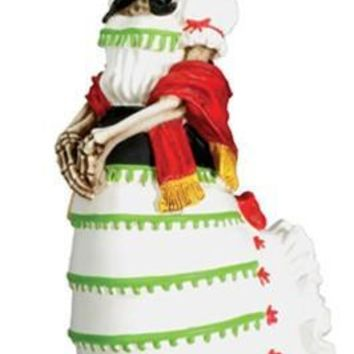 Senorita Wearing White Dress Statue, Day of the Dead Skull - T76800