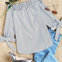 Striped Smocked Off The Shoulder Self Tie Sleeve Top -SheIn(Sheinside)