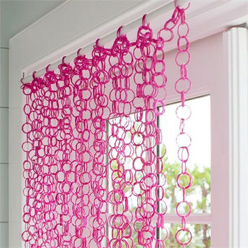 Pink Bamboo Rings Curtain