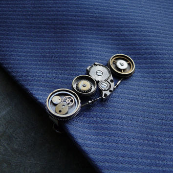 Clockwork Tie Clip Five Mechanical Watch Parts by amechanicalmind