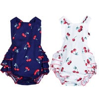 100% Cotton Baby Girl Rompers + Headbands Sleeveless Cherry Print Toddler Clothes Infant Newborn Jumpsuit Summer Dress