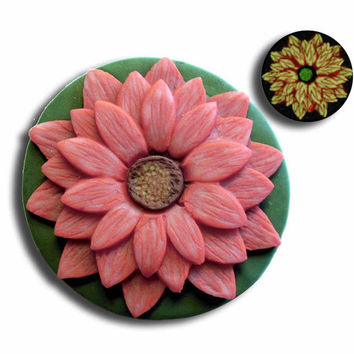 Red and Ivory 3D Flower Pendant EyeGloArts Glow in the Dark Millefiore Jewelry #F3,4,5,6Dec2014
