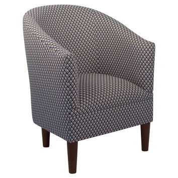 Ashlee Patterned Tub Chair, Indigo/Cream, Accent & Occasional Chairs