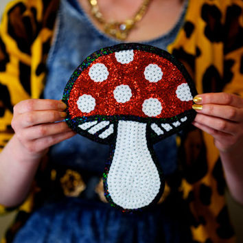 Embroidered Mushroom Sequin Patch DIY Customised Clothing