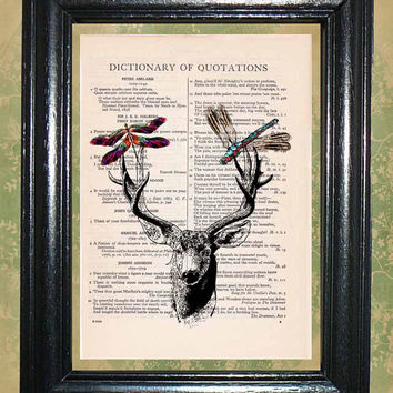 Deer Antlers with Dragonflies - Vintage Dictionary Book Page Art Beautiful Upcycled Page Art Wall Decor Art Print
