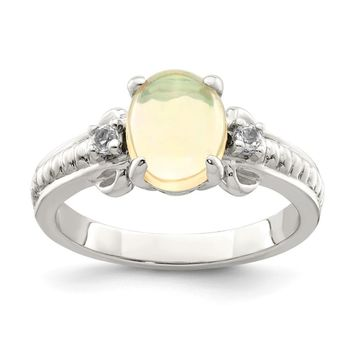 925 Sterling Silver with Ethiopian Opal and White Quartz Polished Ring