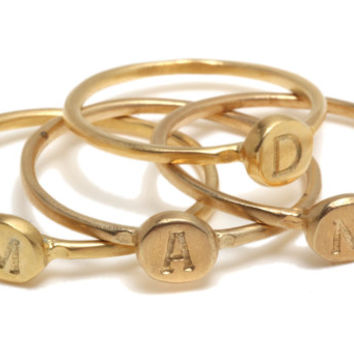 Stacking 14K Gold plated small signet ring with Engraved English alphabet Letter, Free Shipping 14K Gold Filled Pinkie Signet ring kids nam