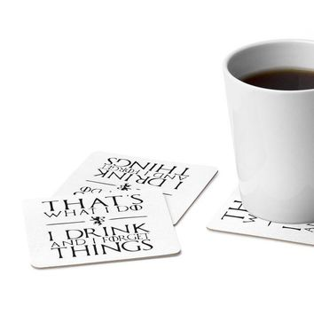 DCCKN3P I Drink and I Forget Things | Game of Thrones | Tyrion Lannister | Square Paper Coaster Set - 6pcs