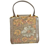 Floral Handbag Embroidered Tapestry Melbourne Bags with Metallic Accent