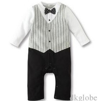 Baby & Kids Clothing boy suit Spring/summer boy gentleman ha clothing jumpsuit baby Baby ma3 jia3 tie bow tie climb a suit yt2985