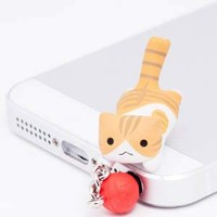"Nyanko Earphone Jack Accessory ""Jump"" -- Orange Tabby Cat"